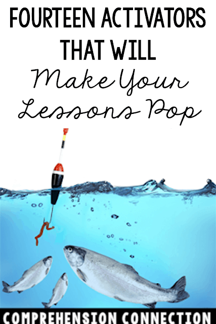 """Need to hook your """"fish"""" in? Check out this post for activator ideas that your students will love. Choosing fun ways to build interest is the bait you need, right? Freebies included."""