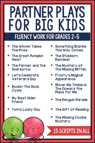 Partner plays are wonderful for building fluency AND comprehension. They combine the idea of reader's theater (repeated reading and performance) with the close reading process. This HUGE bundle includes 15 scripts for grades 2-5. Check out this post to learn more.