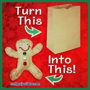 Turn a brown paper bag into a stuffed gingerbread craft!